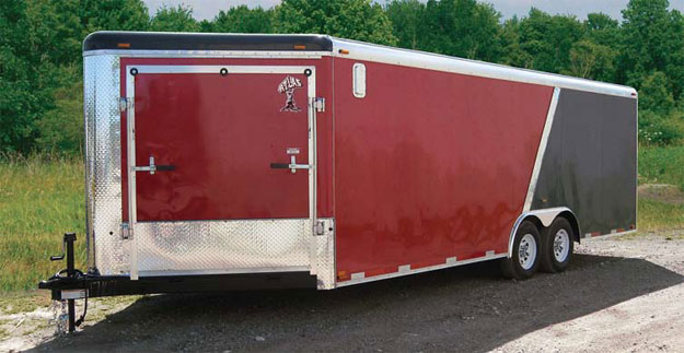 Atlas Snowmobile Trailer Red & Black Side Ramp Door