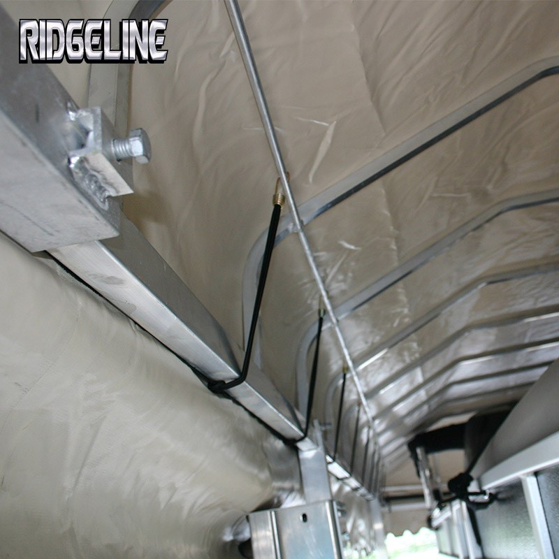 Ridgeline boat or pontoon lift canopy cover is vented with bungee cord system