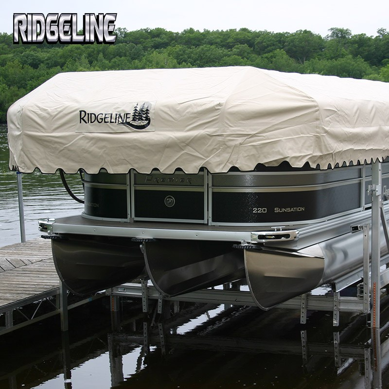 Ridgeline pontoon lift has a 3 dimensional canopy